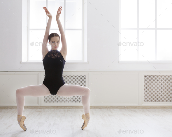 Beautiful ballerine stands in ballet plie position