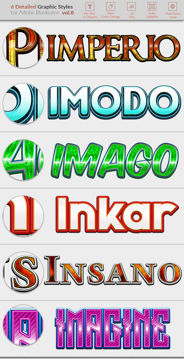 6 Detailed Graphic Styles for Illustrator vol. 08 - Styles Illustrator