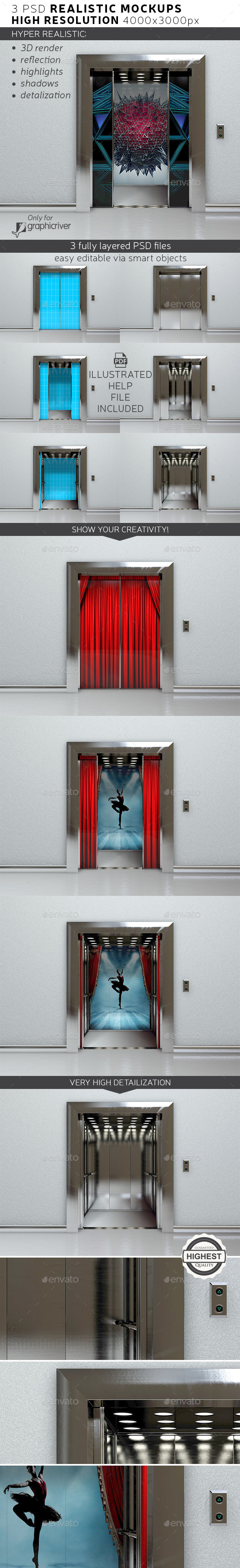 Elevator Mockup - Product Mock-Ups Graphics