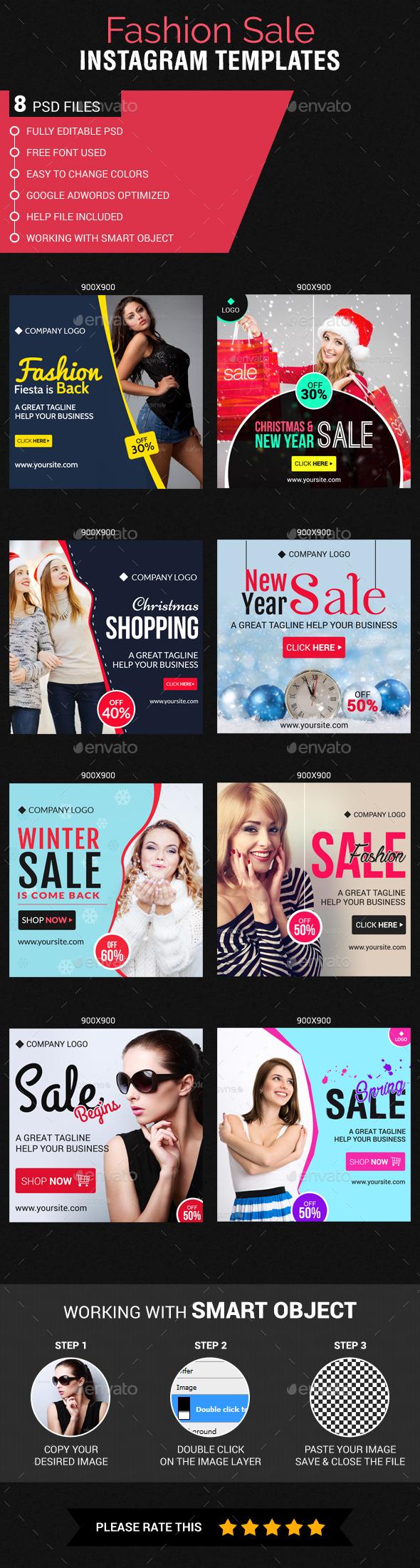 Fashion Sale Instagram Templates - Banners & Ads Web Elements
