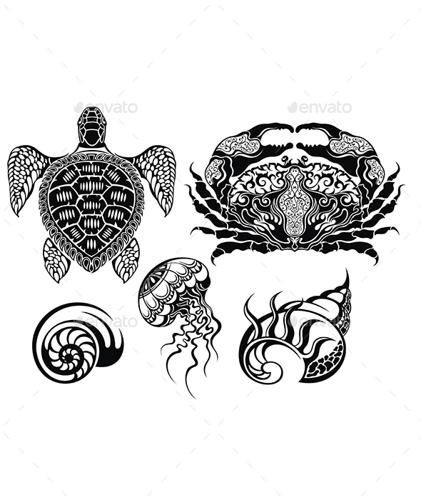 Crustacean Vector Illustrations - Animals Characters