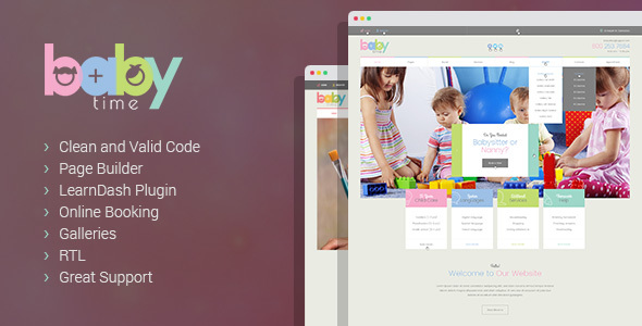 BabyTime - Babysitter, Nurse and Preschool Education WordPress Theme - Children Retail