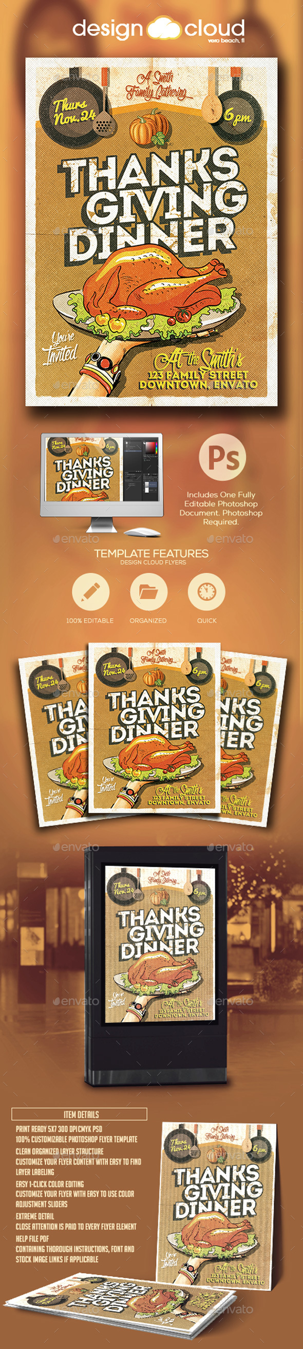 Thanksgiving Dinner Invitation Flyer Template - Holidays Events