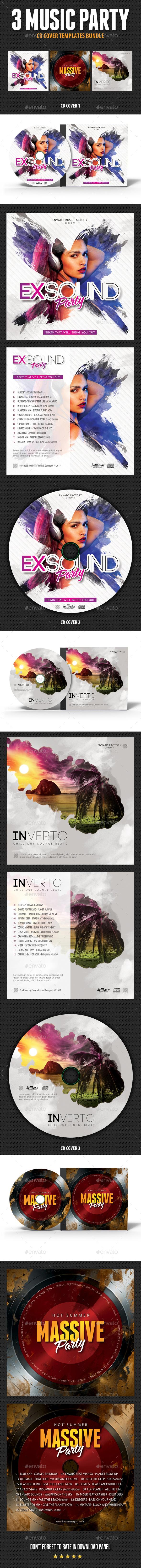 3 Music Party CD Cover Bundle V1 - CD & DVD Artwork Print Templates