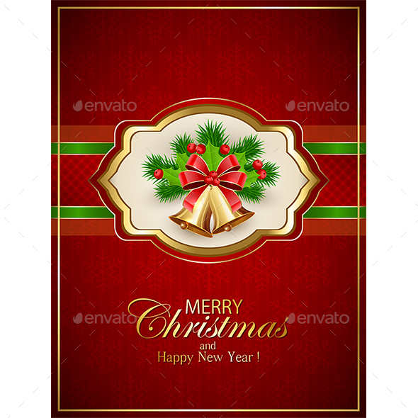 Card with Christmas Bells and Holly Berries on Red Background - Christmas Seasons/Holidays