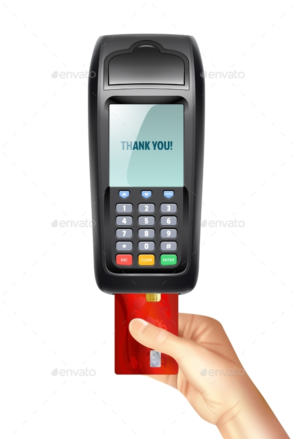 Payment Terminal with Inserted Credit Card - Man-made Objects Objects