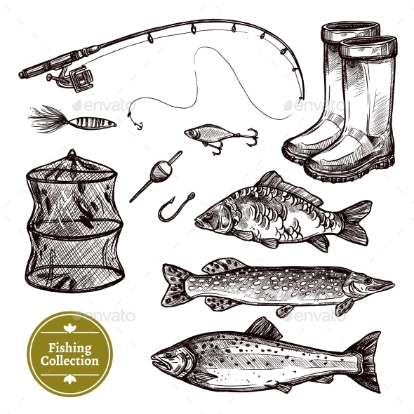 Fishing Sketch Set - Sports/Activity Conceptual