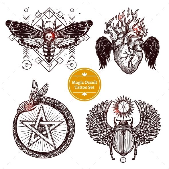 Magic Occult Tattoo Set - Tattoos Vectors