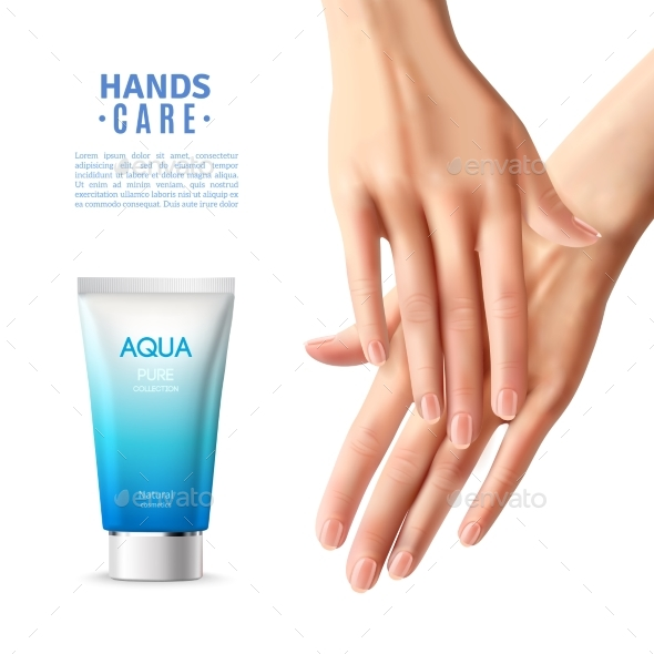 Hand Care Cream Realistic Poster - Services Commercial / Shopping