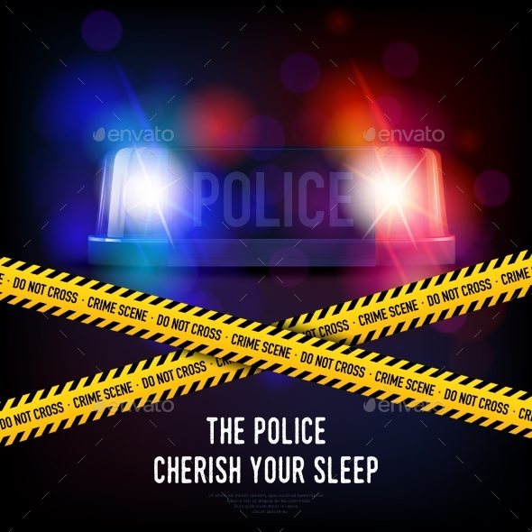 Police Crime Tape and Siren - Backgrounds Decorative