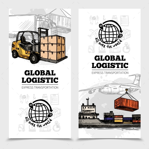 Global Logistics Vertical Banners - Abstract Conceptual