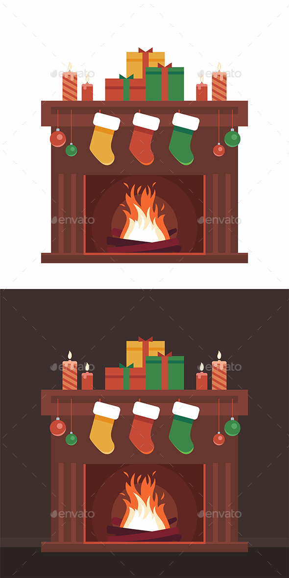 Christmas Card with Fireplace - Miscellaneous Vectors