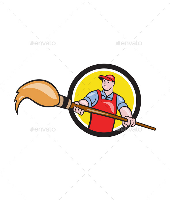 Artist Painter Holding Paintbrush Circle Cartoon - People Characters