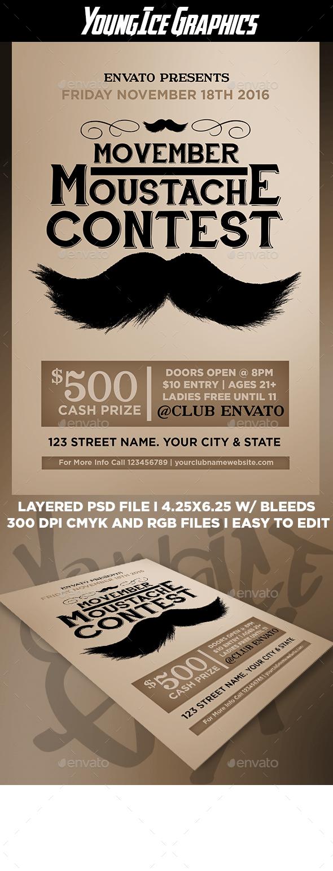 Moustache Contest Flyer Template - Events Flyers