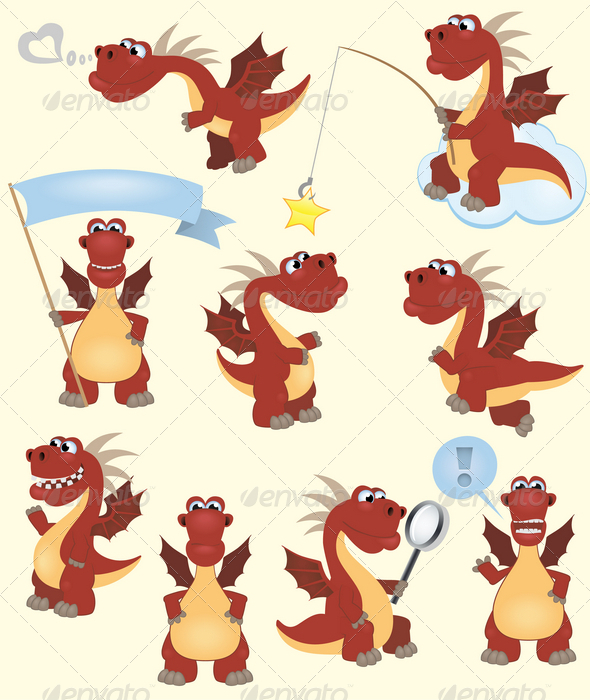 Funny cartoon dragon collection - Monsters Characters
