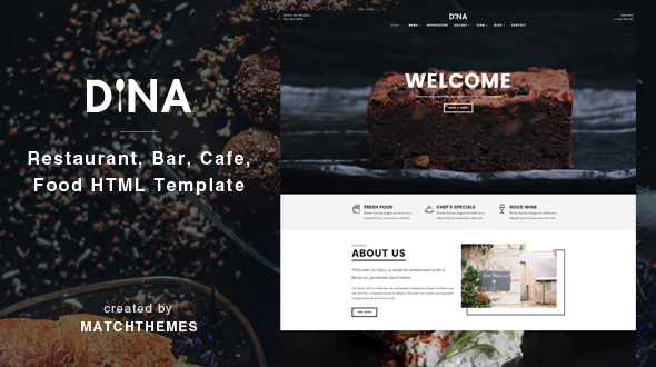 Dina – Restaurant, Bar, Cafe, Food HTML Template