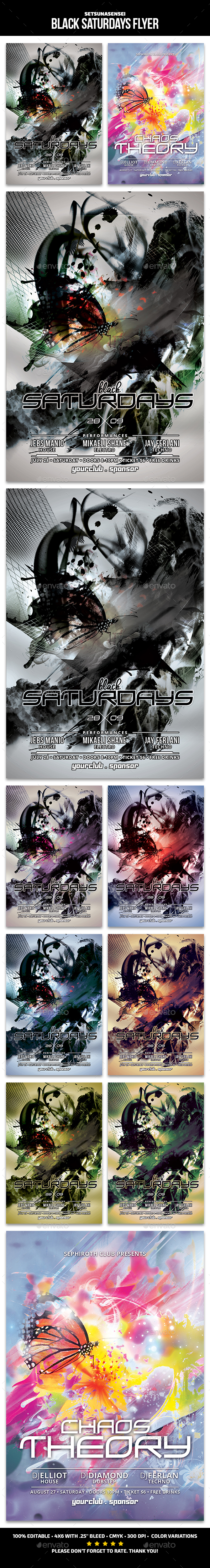 Black Saturdays Flyer - Clubs & Parties Events