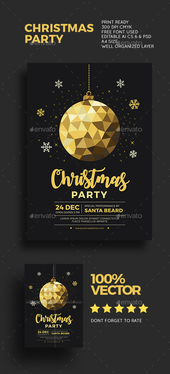 Christmas Gold Party - Events Flyers