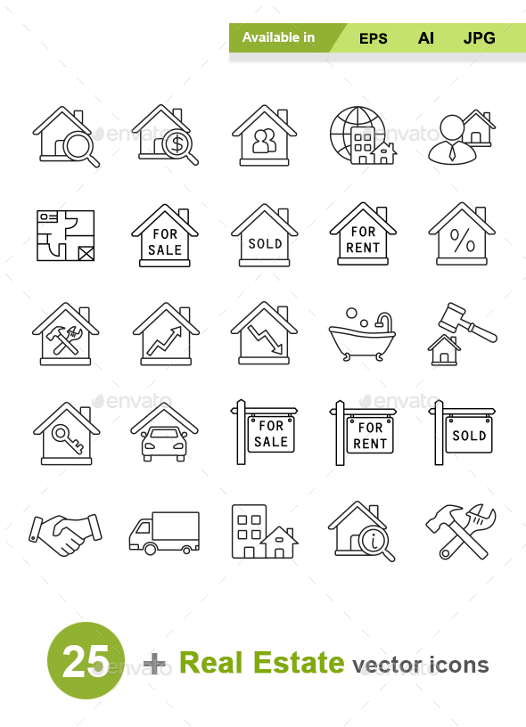 Real Estate Outlines Vector Icons - Business Icons