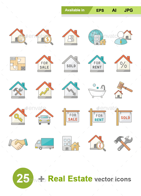 Real Estate Color Vector Icons - Business Icons