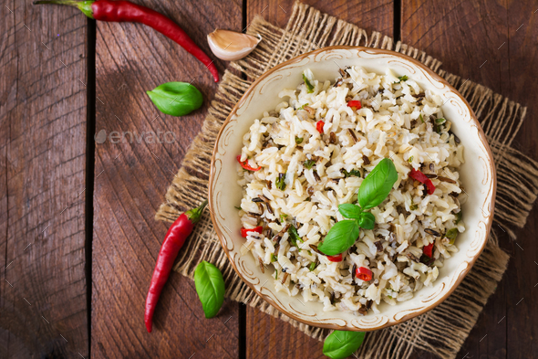 Mixed boiled rice with chilli and basil. Dietary menu. Top view - Stock Photo - Images