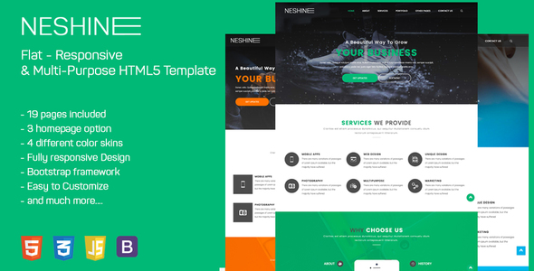 NESHINE – Responsive & Multi-Purpose HTML5 Template