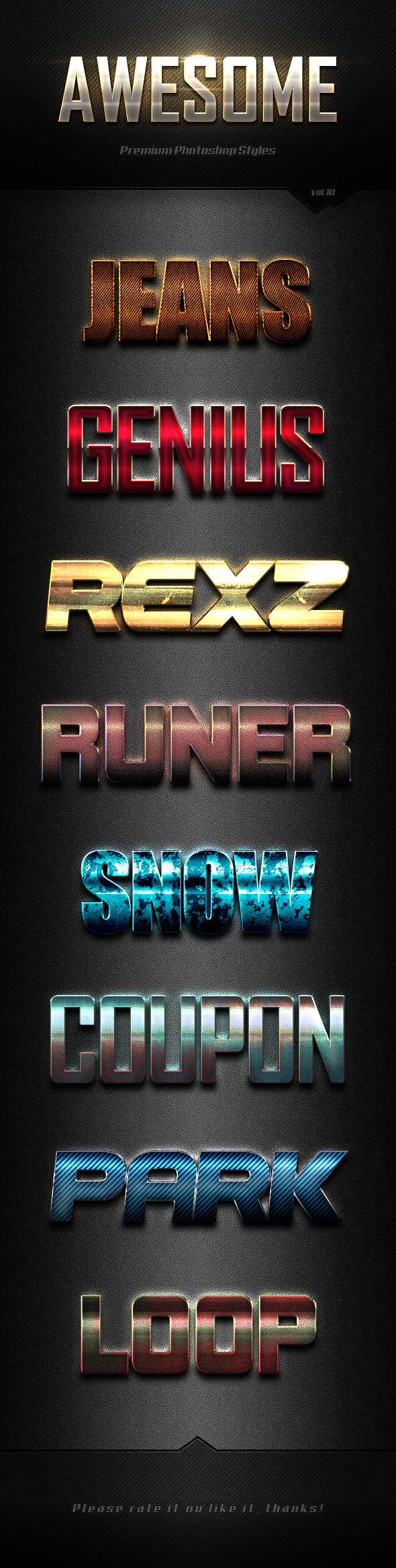 Photoshop Text Effects Vol.10 - Text Effects Styles