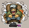 Screaming gamer in a chair in surrounded by gaming devices preview.  thumbnail