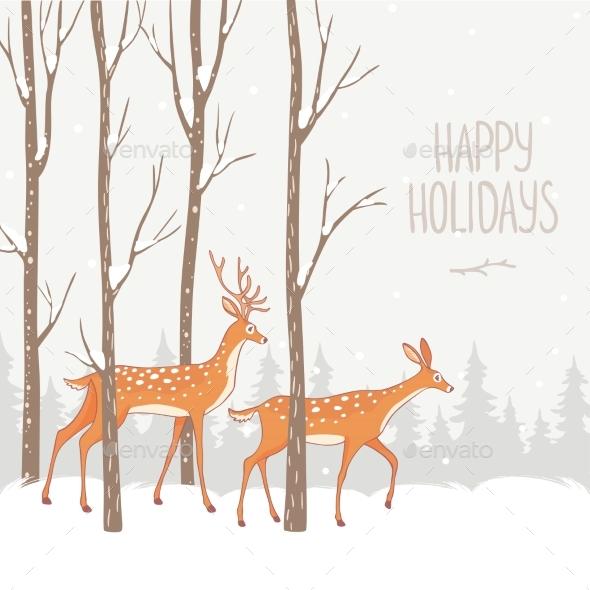 Deer Winter Forest - Seasons Nature