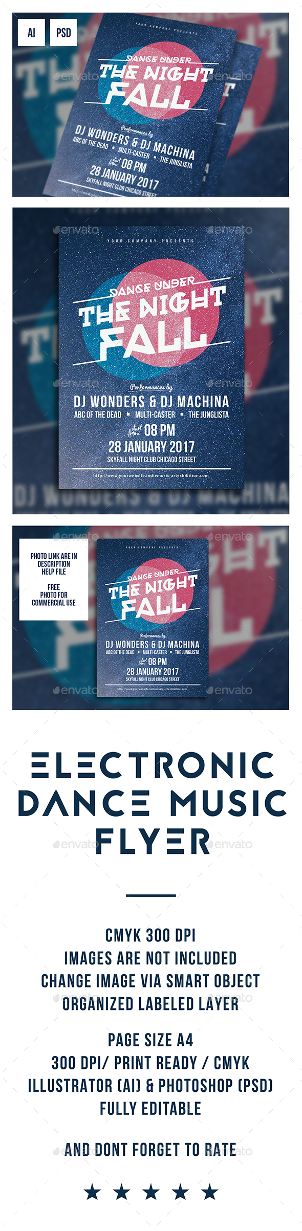 Electronic Dance Music Flyer - Clubs & Parties Events