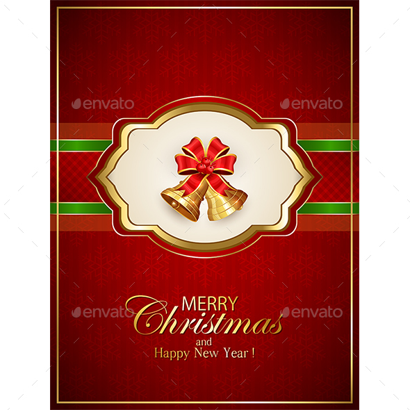 Card with Christmas Bells and Bow on Red Background - Christmas Seasons/Holidays