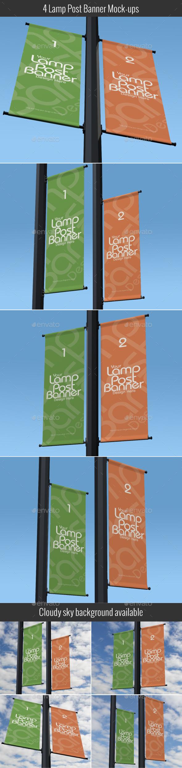Lamp Post Banner Mockup - Signage Print