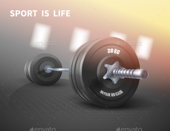 Fitness Background with Metal Realistic Dumbbell - Sports/Activity Conceptual