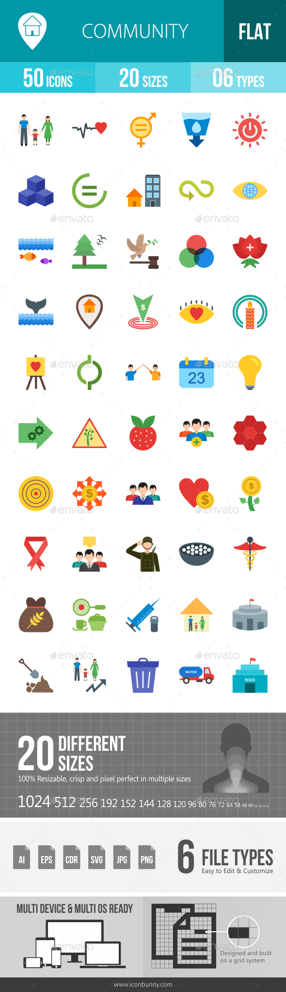 Community Flat Multicolor Icons - Icons