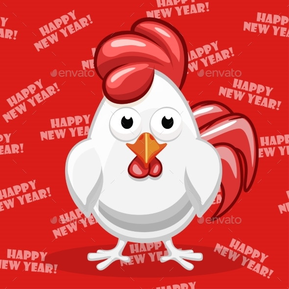 White Cartoon Rooster Symbol Happy New Year - New Year Seasons/Holidays