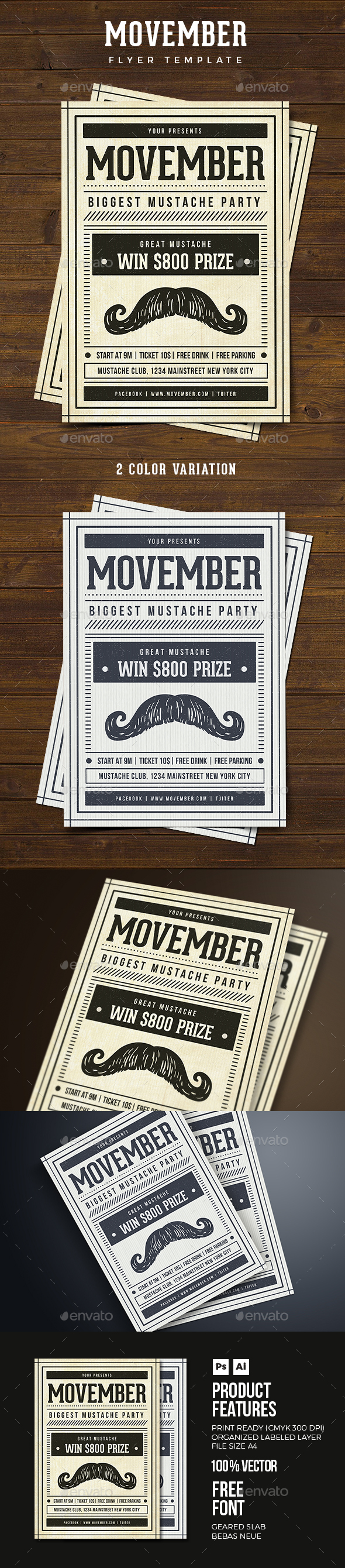 Vintage Movember Flyer - Clubs & Parties Events