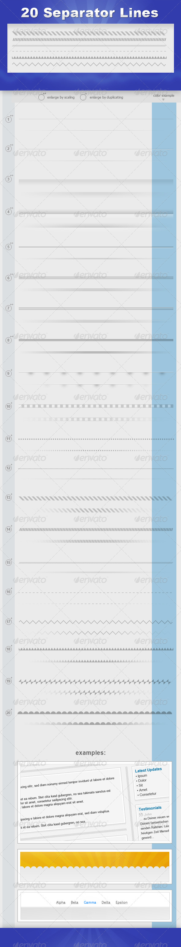 20 Separator Lines - Miscellaneous Web Elements