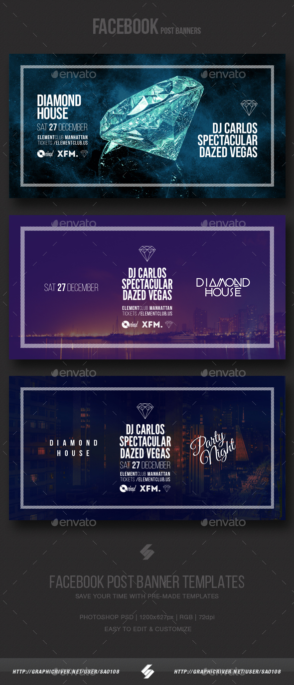 Electronic Music Party Vol4 - Facebook Post Banner Templates - Social Media Web Elements