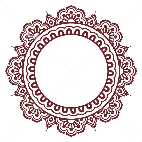 Indian Henna Floral Round Pattern - Mehndi - Decorative Symbols Decorative