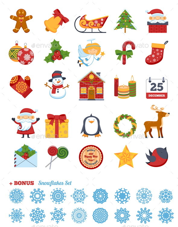 Christmas Flat Icons Set - Christmas Seasons/Holidays
