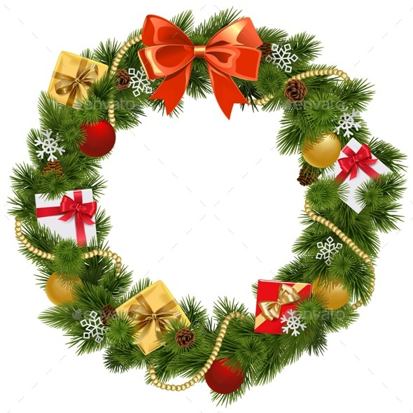 Vector Christmas Wreath with Red Bow - Christmas Seasons/Holidays