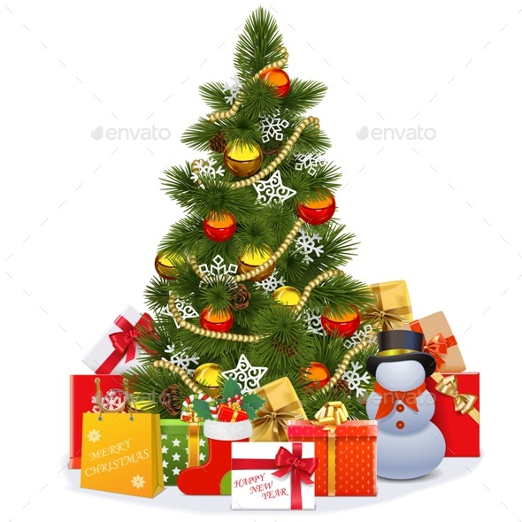 Vector Christmas Tree with Snowman - Christmas Seasons/Holidays