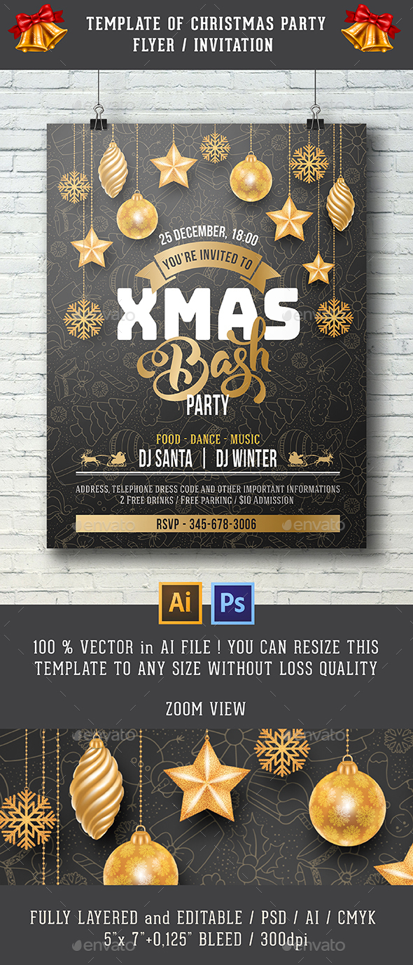Template For Christmas Party Invitation - Clubs & Parties Events