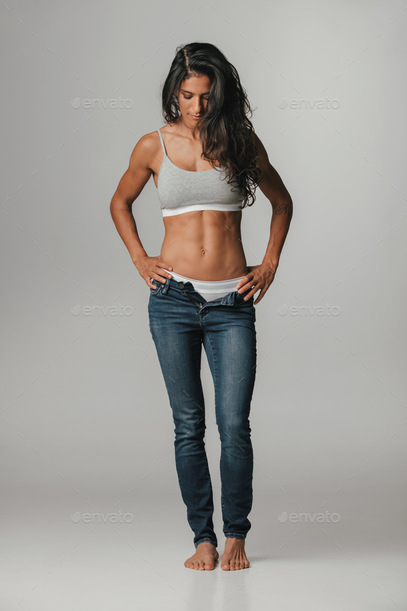 Calm Woman In Unzipped Blue Jeans Stock Photo By Jacoblund Photodune