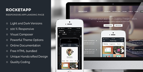 Rocket App – Responsive App Landing WordPress Theme