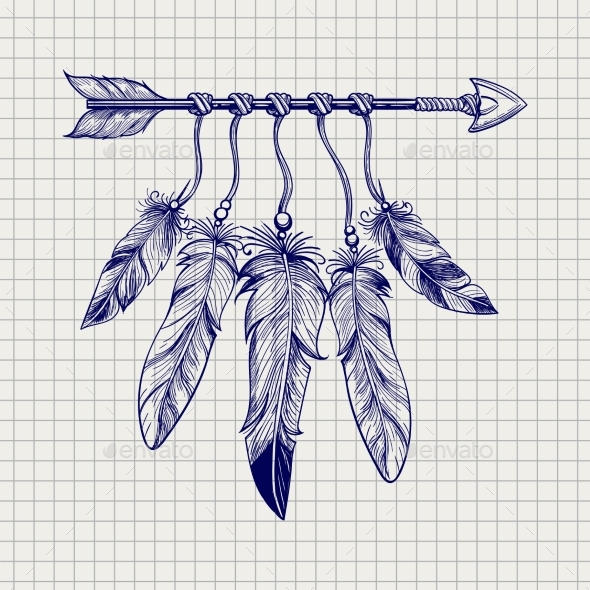 Arrow with Feathers on Notebook Page - Miscellaneous Conceptual