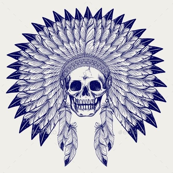 Ball Pen Sketch Skull in Headdress - Miscellaneous Conceptual