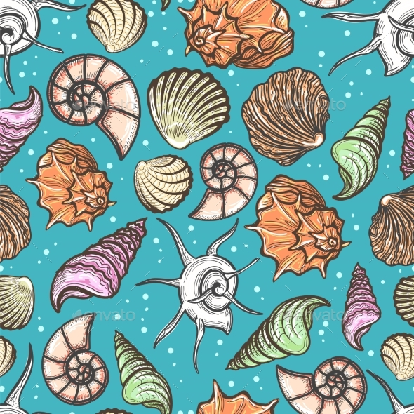 Ocean Seamless Pattern with Colorful Seashells - Miscellaneous Conceptual
