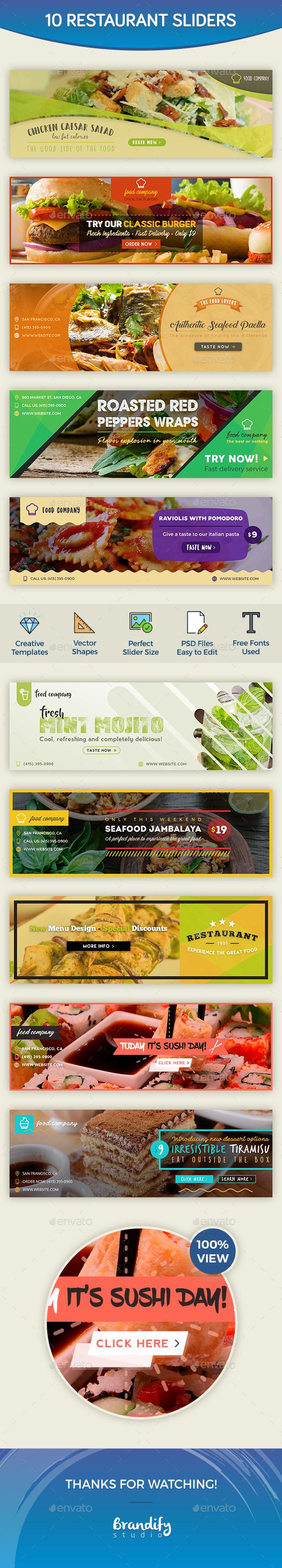 Restaurant Sliders - Sliders & Features Web Elements