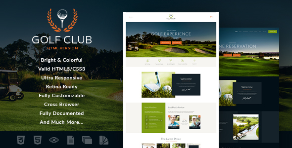 Golf Club | Sports & Events Site Template - Entertainment Site Templates
